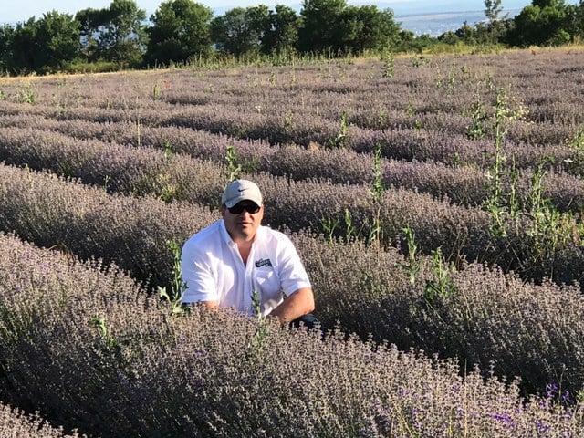 Alan Brown, CSO/Owner, in our lavender grower's field in Bulgaria.