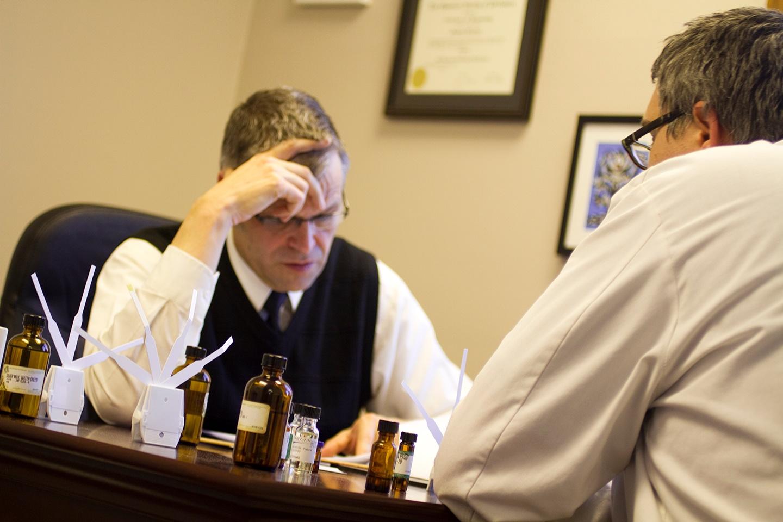 Jim Fuchs and Michael Love, Lebermuth perfumers, working on a fragrance.